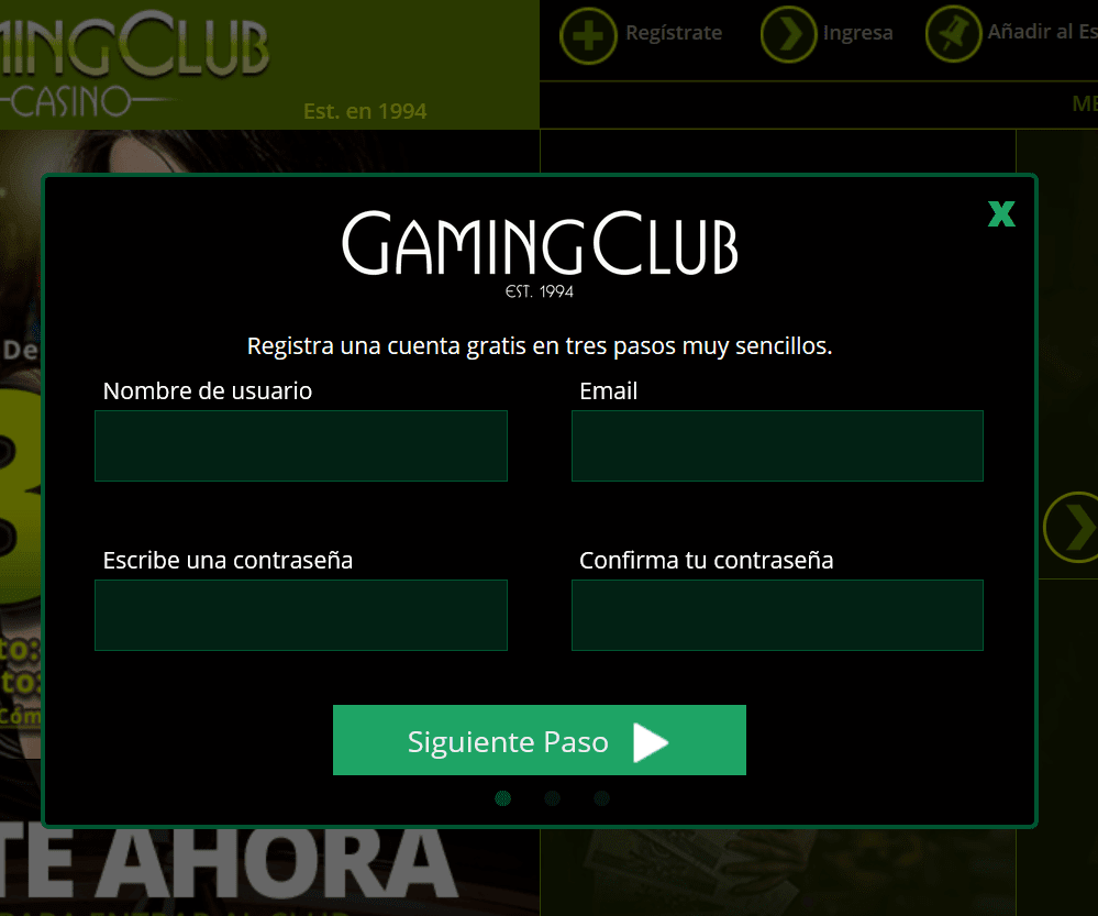 Registrarse Gaming Club Casino